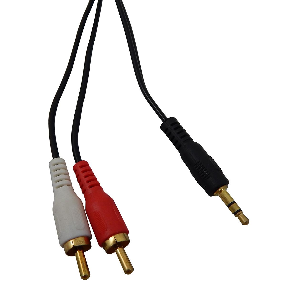 Cabo de Audio P2 3,5mm x RCA 1,5 Metros Exbom CBX-A2RCA15