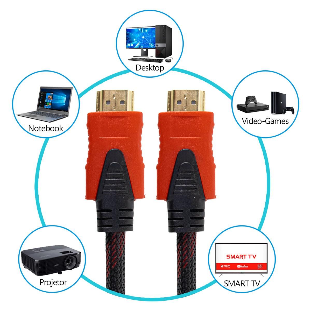 Cabo HDMI 1.4 de 10 Metros com Malha e Filtro Lelong LE-6612-10M