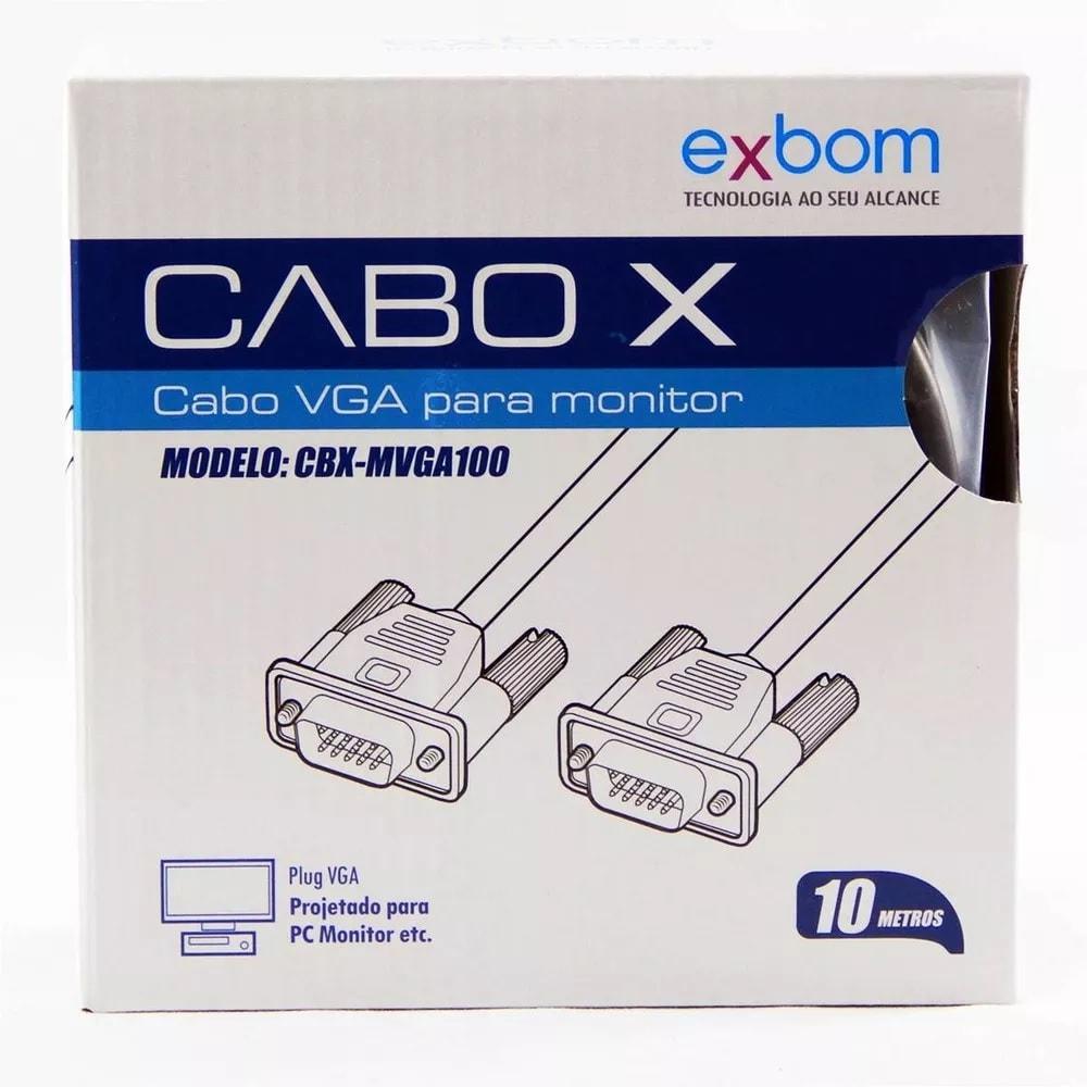 Cabo VGA 10 Metros com Filtro Macho x Macho Exbom CBX-MVGA100