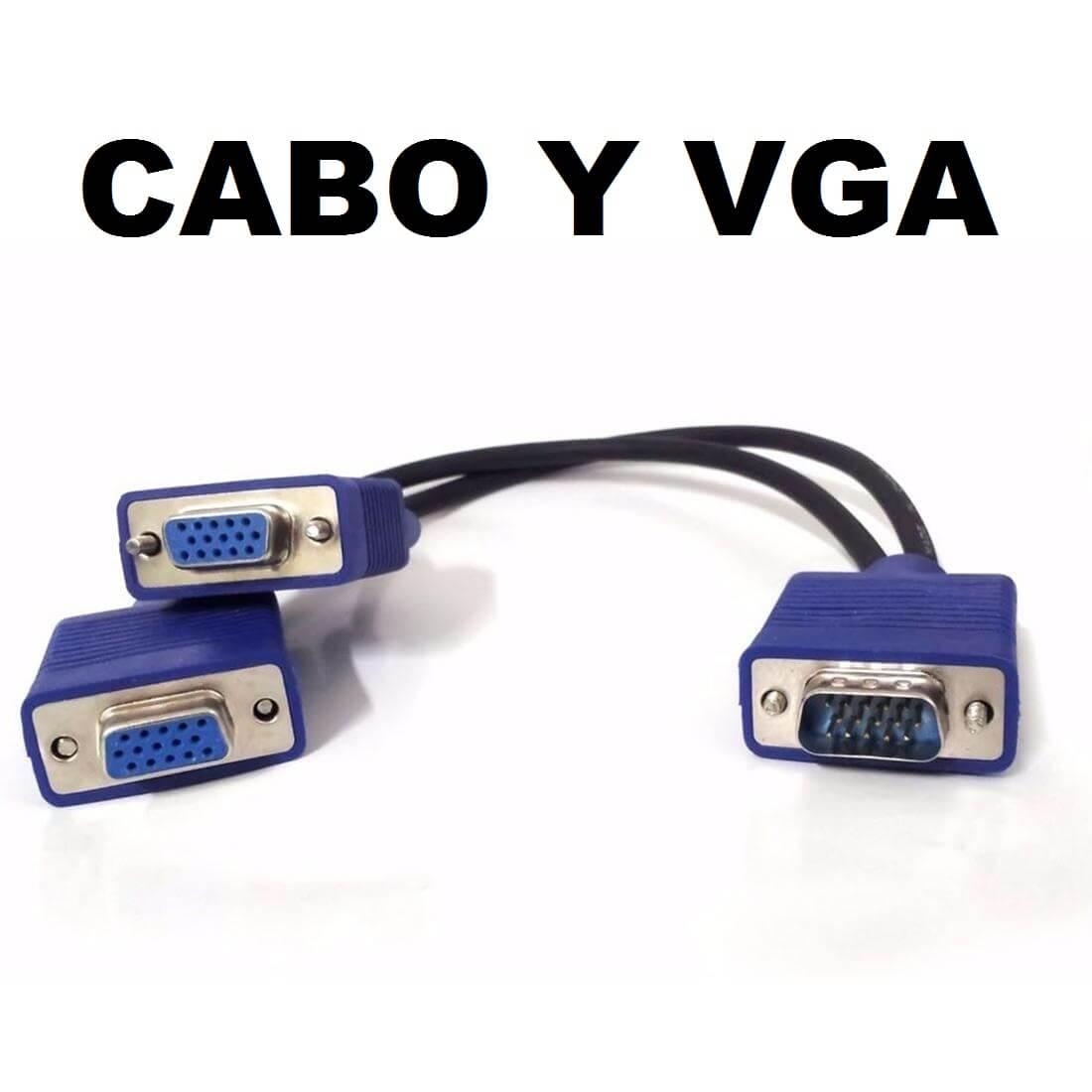 Cabo VGA em Y 1 Vga Macho para 2 Vga Fêmea