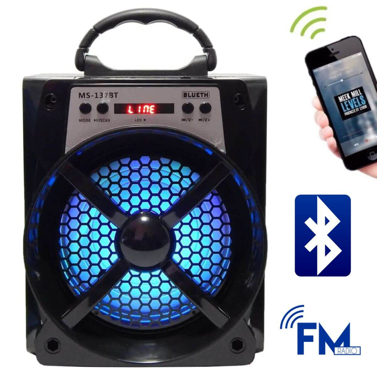 Caixa de Som 15 Watts Rms Bluetooth Bateria/Radio/SD/USB MS-137BT