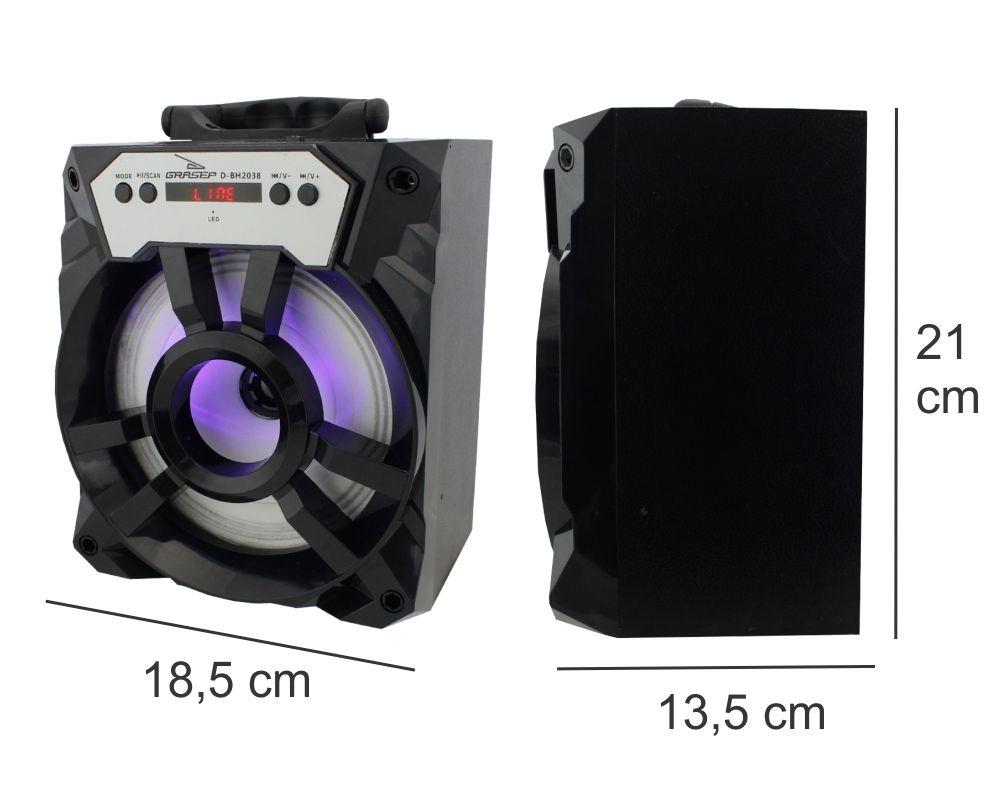 Caixa de Som 15 Watts Rms Bluetooth/Radio/SD/USB Grasep D-BH2038
