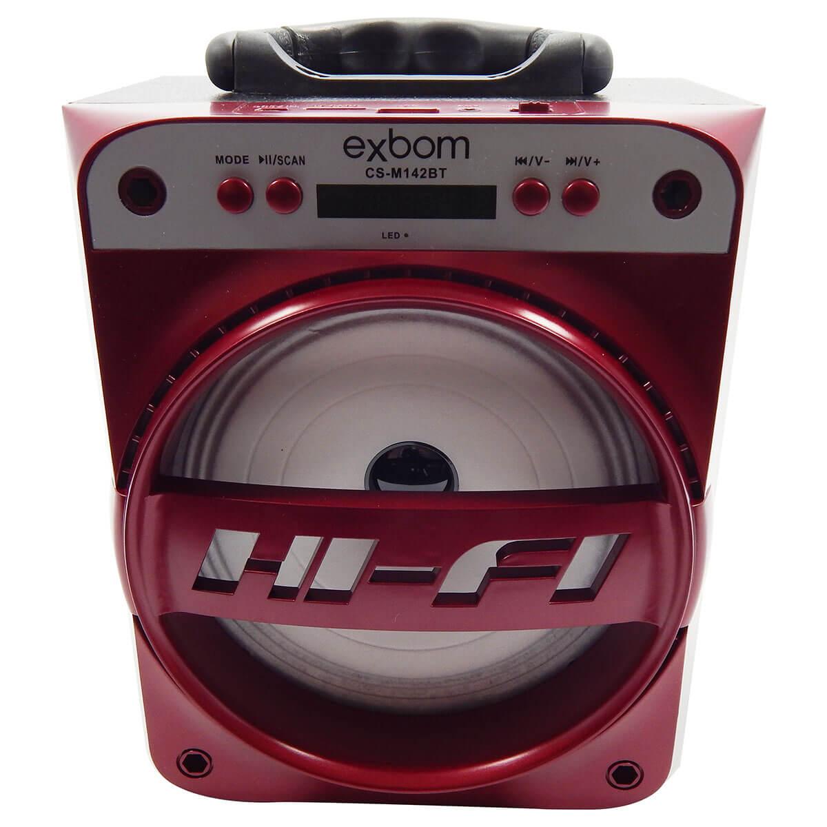 Caixa de Som 2.0 15 Watts Rms Bateria/Radio/SD/USB/Aux./ Bluetooth Exbom CS-M142BT