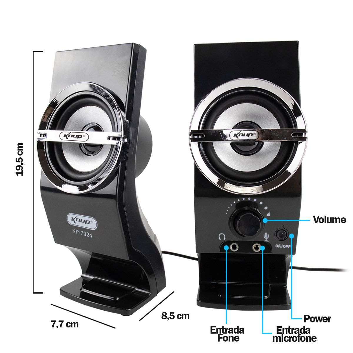 Caixa de Som 2.0 de 12 Watts Rms para PC Knup KP-7024
