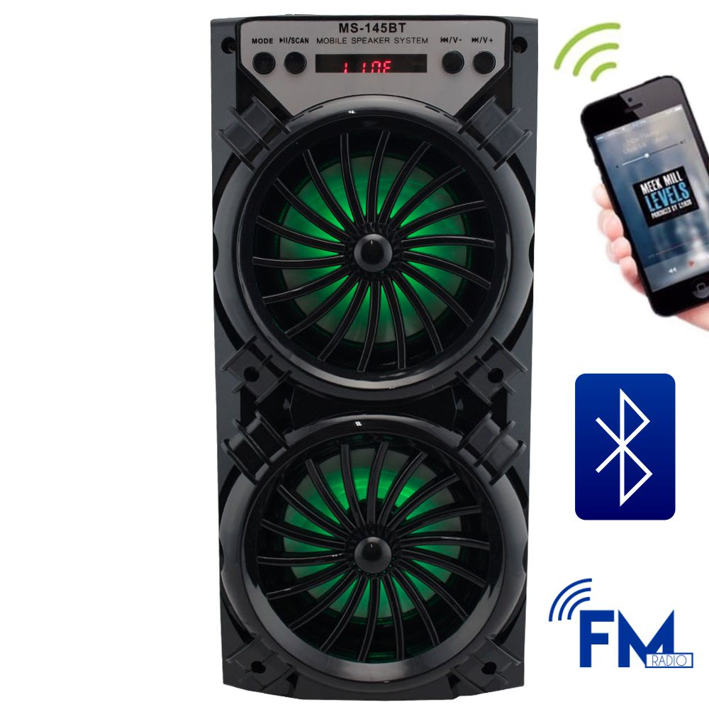 Caixa de Som 8 Watts Rms Bluetooth Bateria/Radio/SD/USB MS-145BT