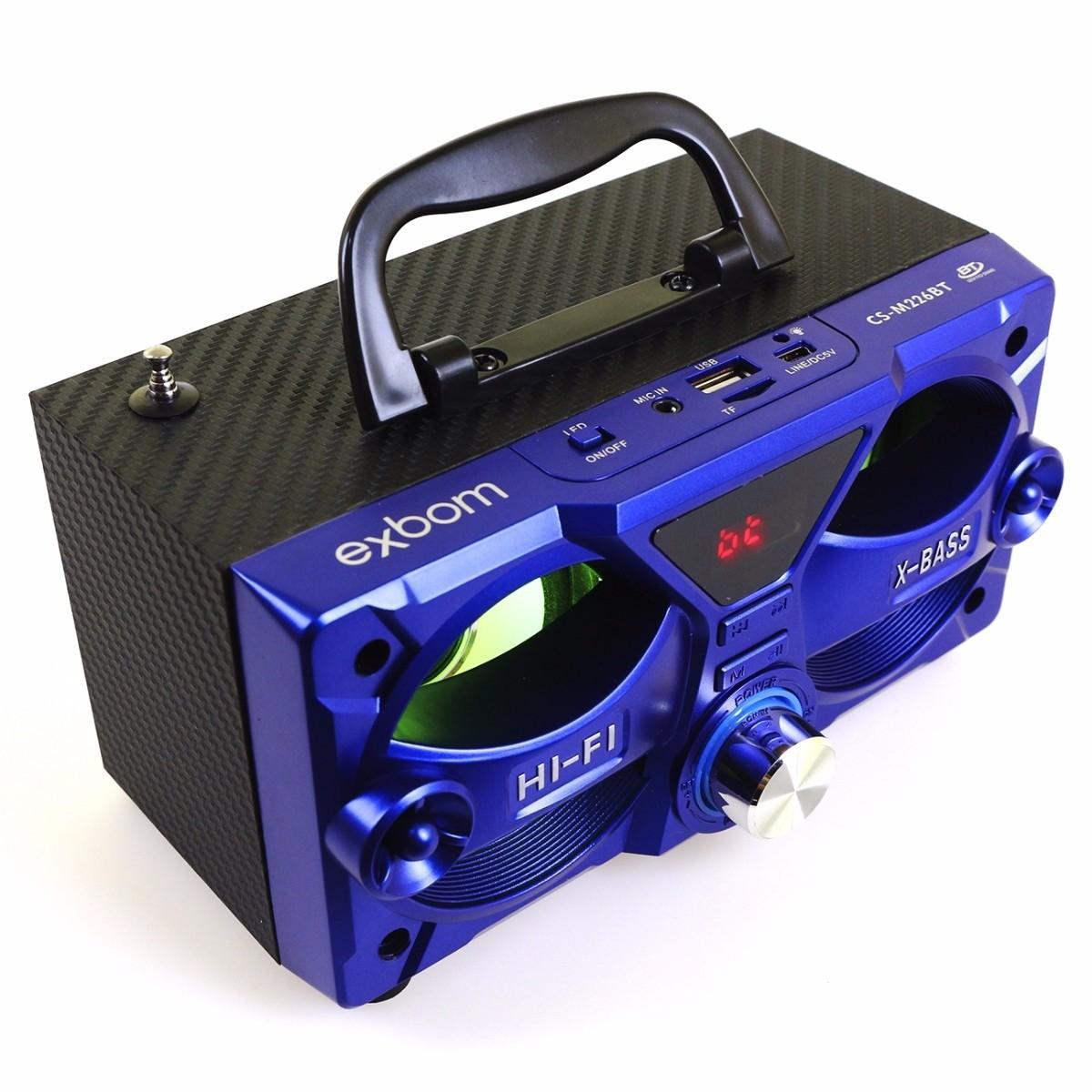 Caixa de Som Bluetooth 10w Rms Exbom CS-M226BT c/ Visor SD/USB/FM