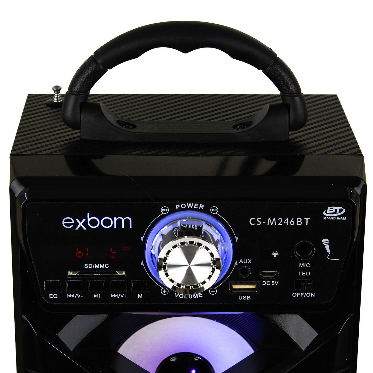 Caixa de Som Bluetooth 12 Watts Rms Exbom CS-M246BT c/ Visor SD/USB/FM