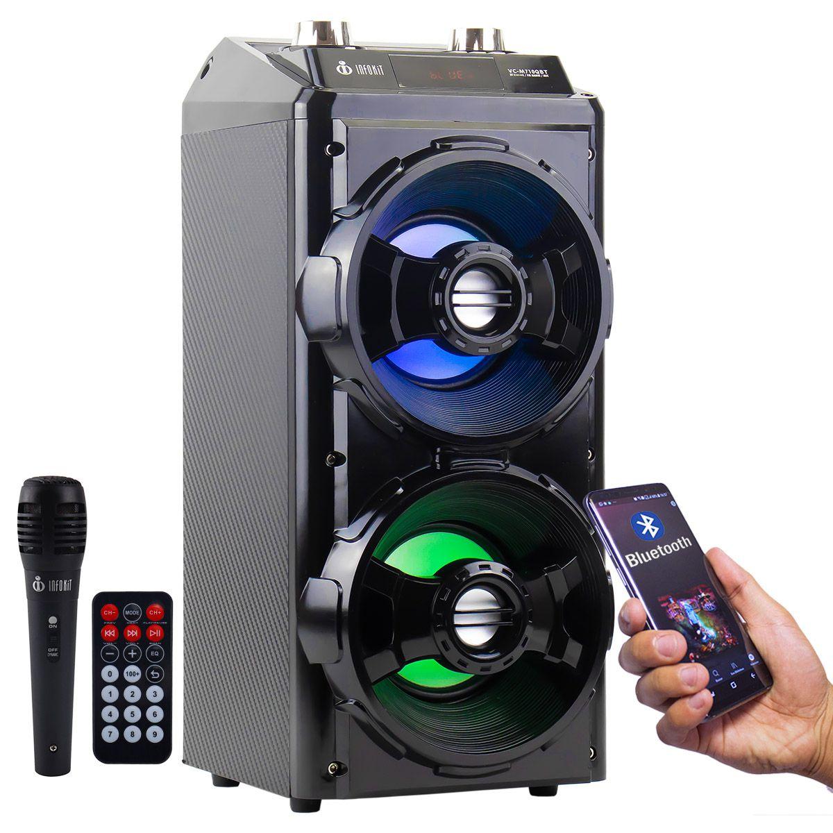 Caixa de Som Bluetooth 12 Watts Rms Infokit VC-M710QBT c/ Visor SD/USB/FM e Microfone