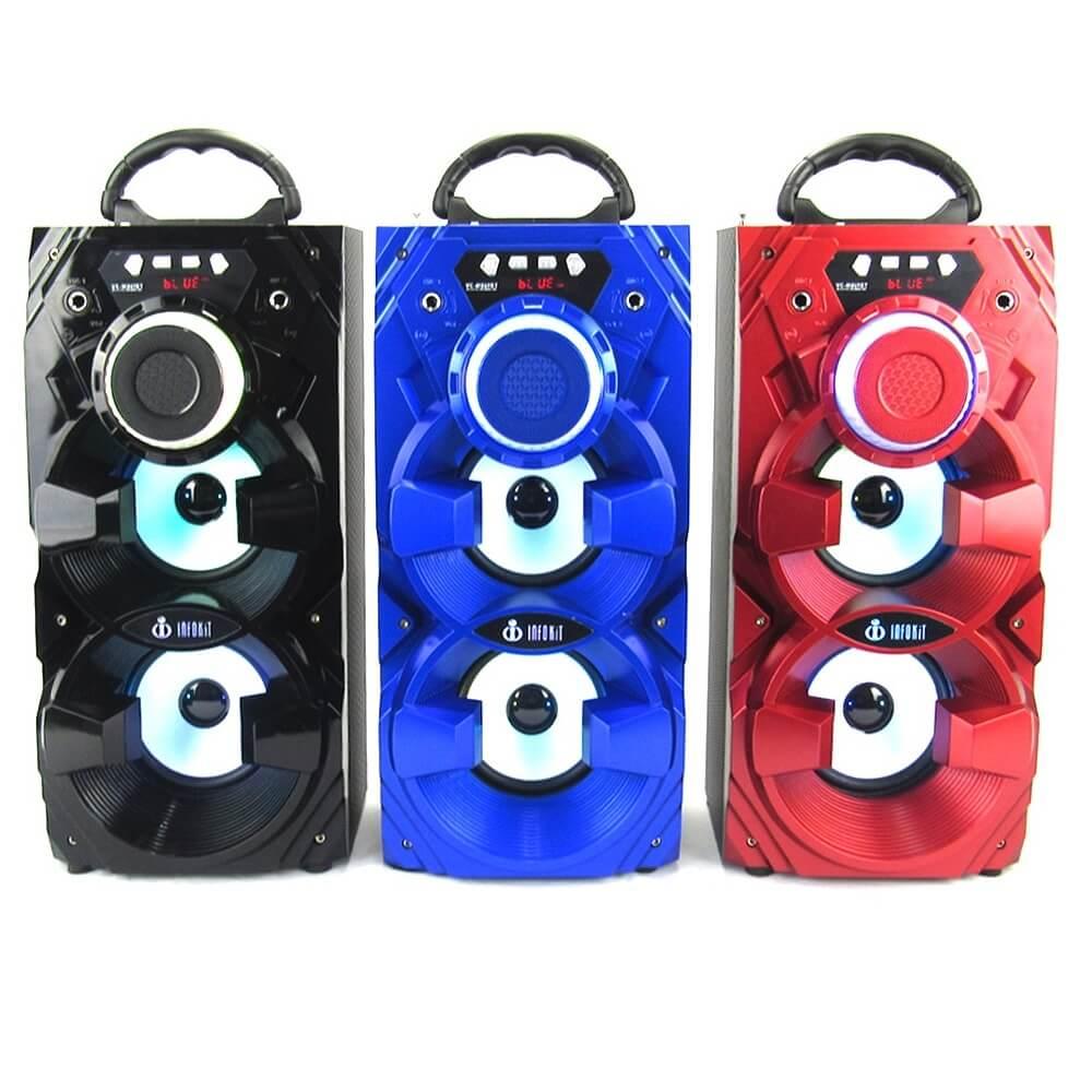 Caixa de Som Bluetooth 12 Watts Rms Infokit VC-M869BT c/ Visor SD/USB/FM e Microfone
