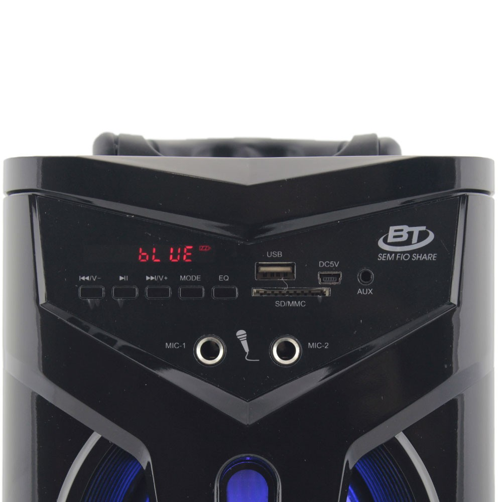 Caixa de Som Bluetooth 12 Watts Rms Exbom CS-M264BT c/ Visor SD/USB/FM