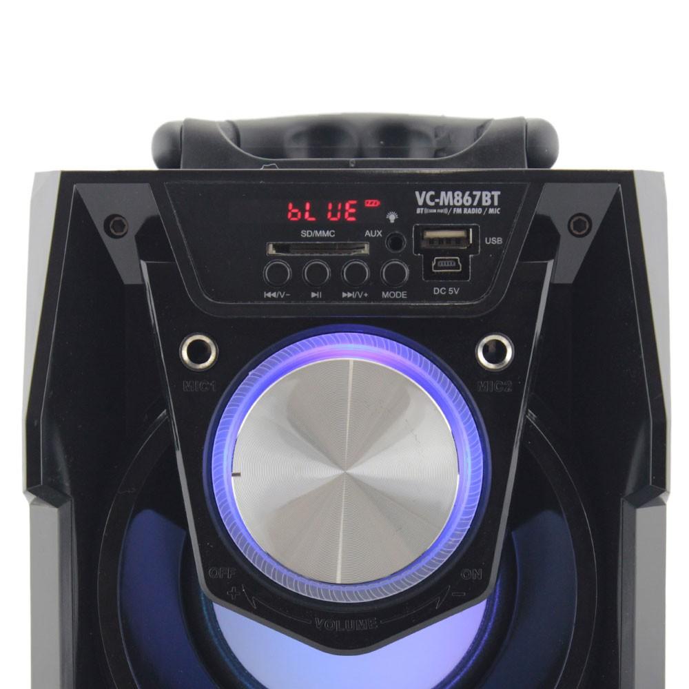 Caixa de Som Bluetooth 12 Watts Rms Infokit VC-M867BT com Visor SD/USB/FM e Microfone