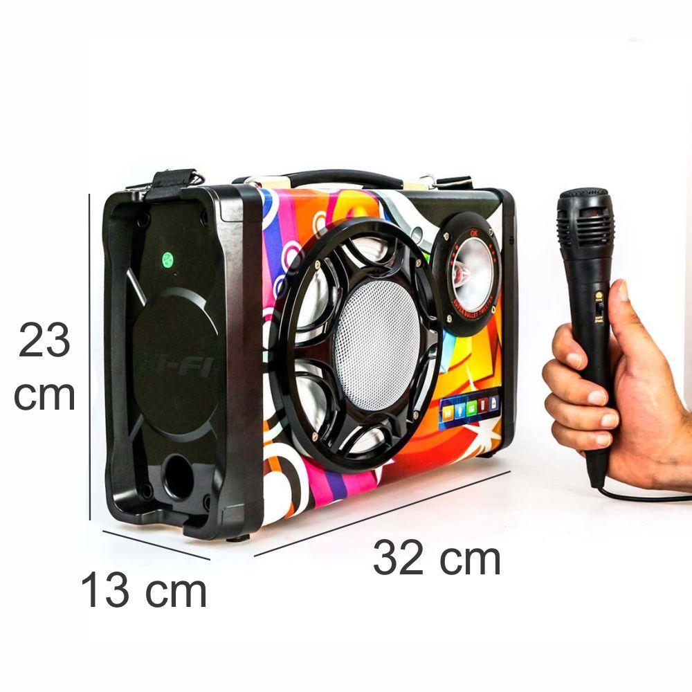 Caixa de Som Bluetooth 15 Watts Rms Grasep D-BH2016 c/ Visor SD/USB/FM e Microfone
