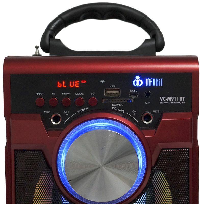 Caixa de Som Bluetooth 18 Watts Rms Infokit VC-M911BT com VISOR SD/USB/FM e Microfone