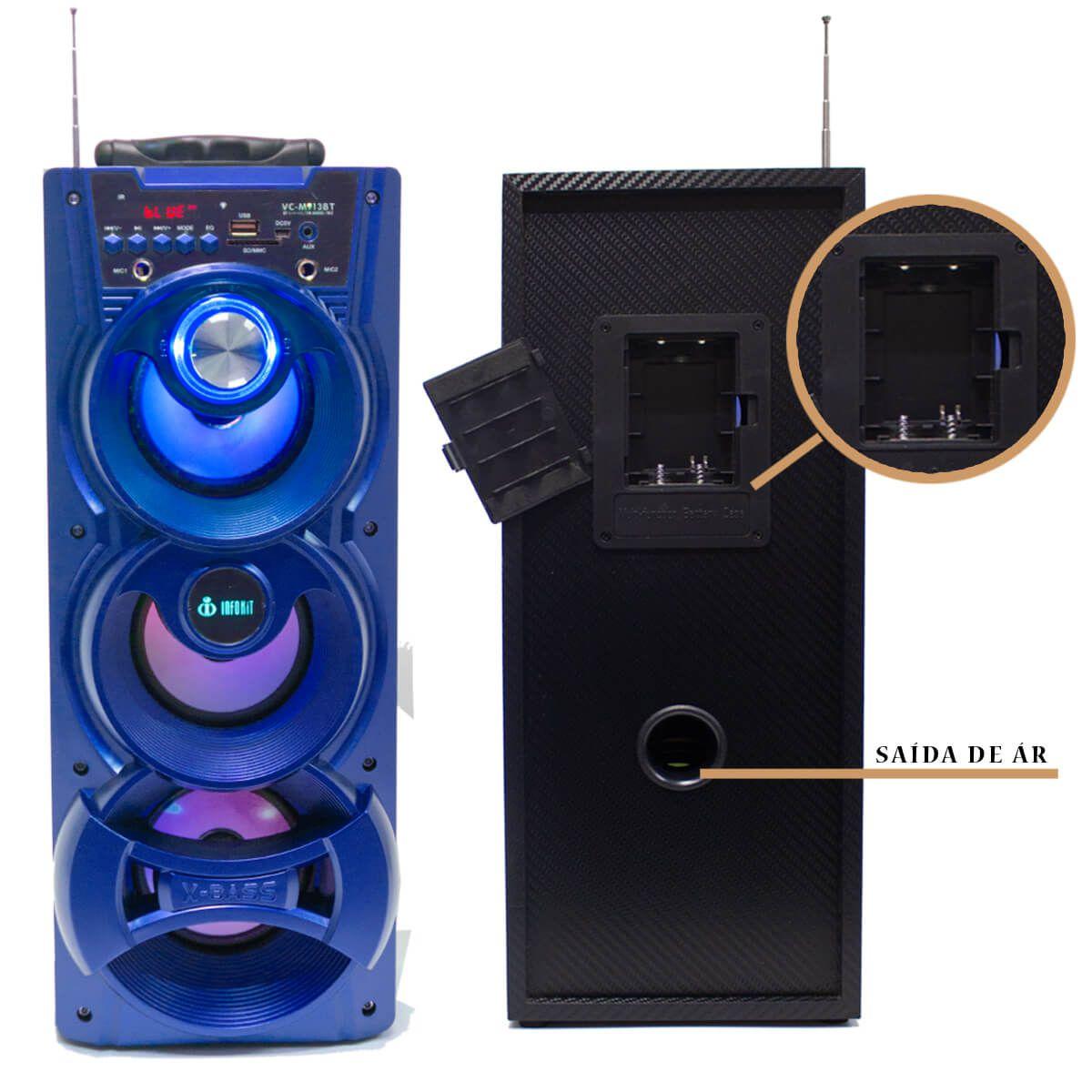 Caixa de Som Bluetooth 18 Watts Rms Infokit VC-M913BT com VISOR SD/USB/FM e Microfone