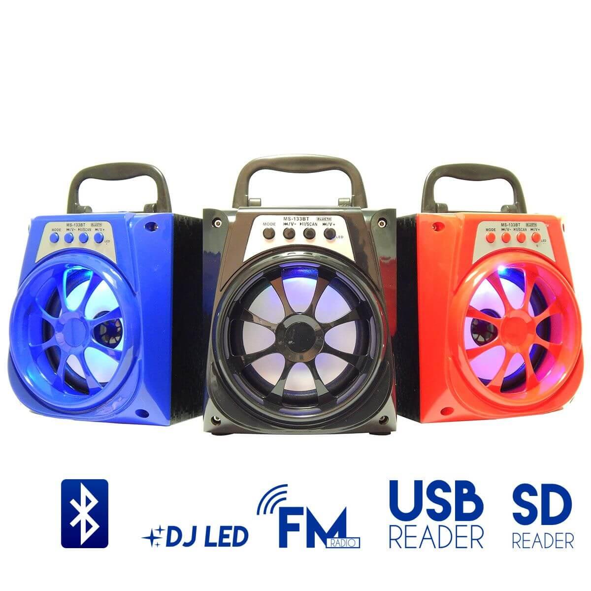 Caixa de Som 8 Watts Rms Bluetooth Bateria/Radio/SD/USB MS-133BT
