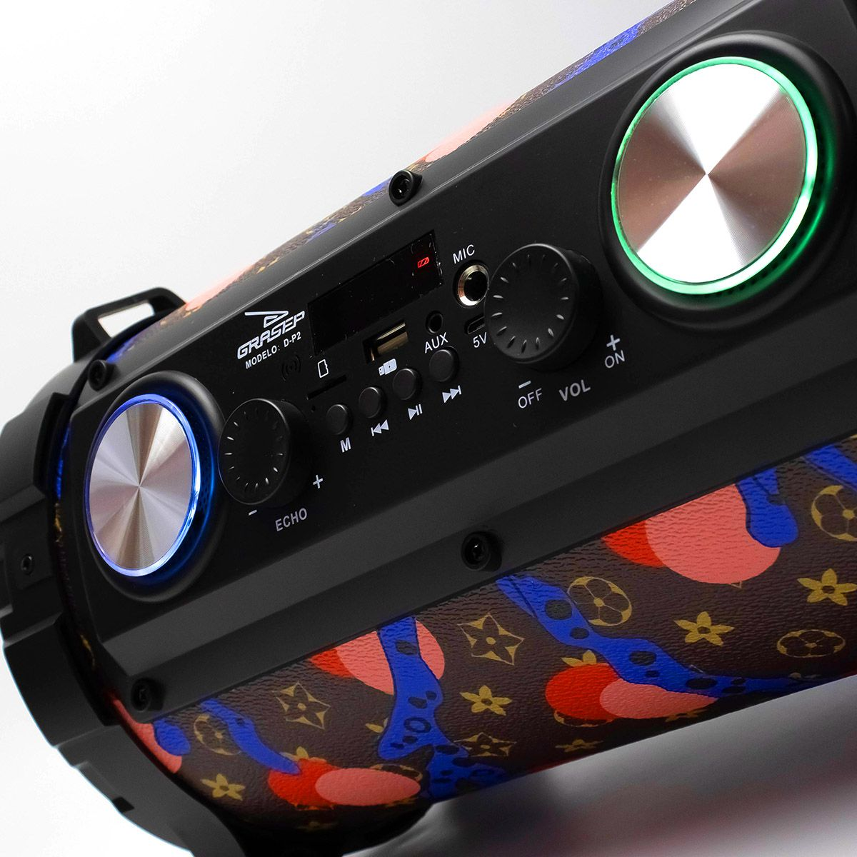 Caixa de Som Bluetooth Canhão 24 Watts RMS Grasep D-P2