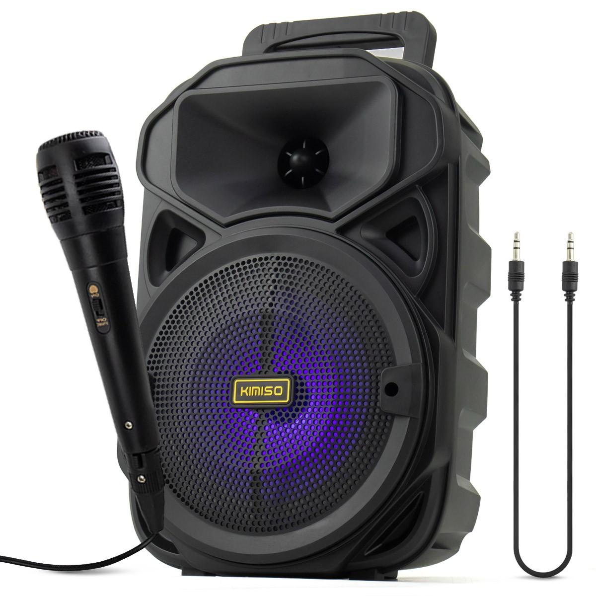 Caixa de Som Bluetooth Portátil 1200 Watts PMPO com Microfone + Cabo Auxiliar P2 Kimiso KMS-3382