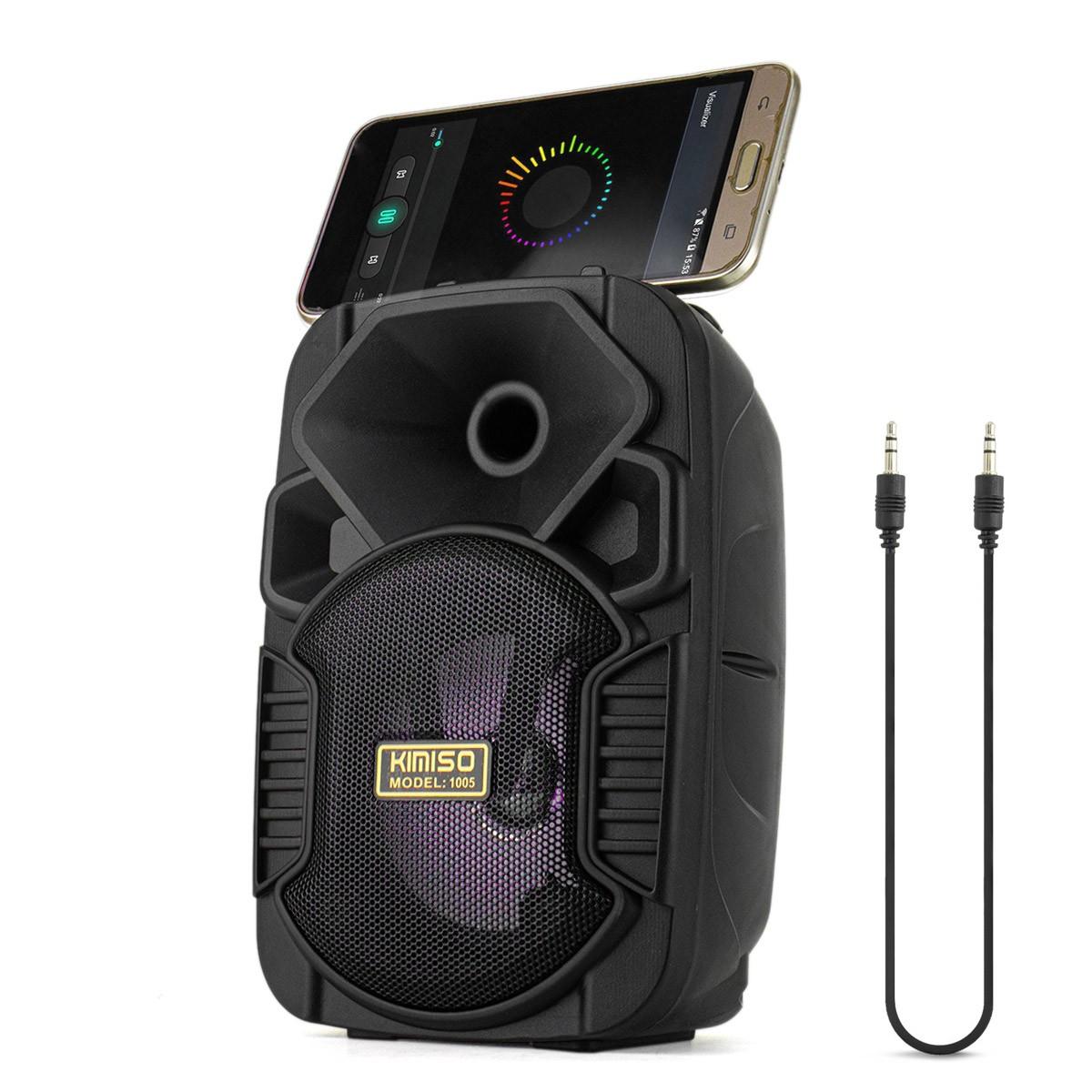 Caixa de Som Bluetooth Portátil 5 Watts RMS com Cabo Auxiliar P2 Entrada USB Micro SD Kimiso KMS-1005