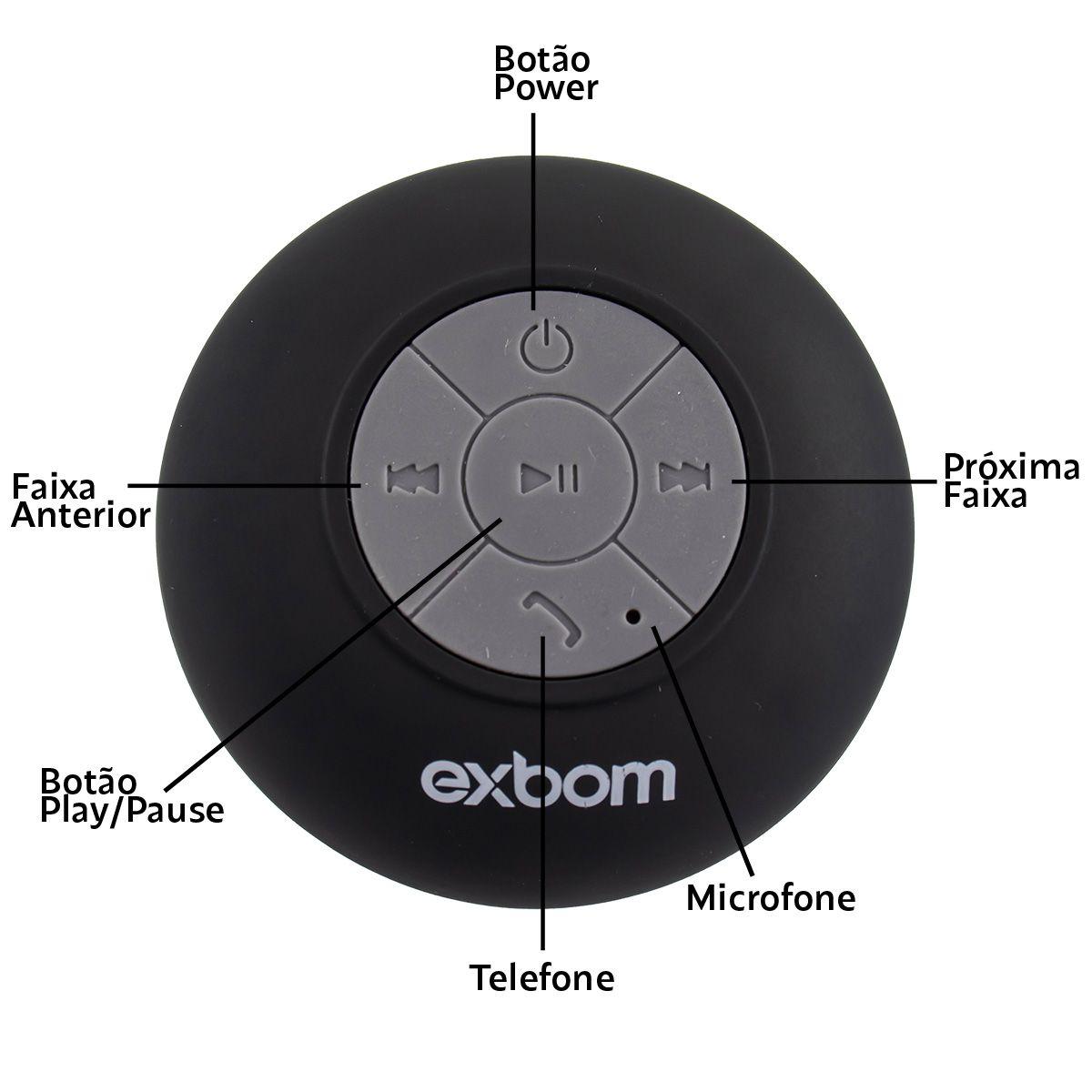 Caixa de Som Bluetooth Portátil à Prova D'água Exbom CS-A6BT
