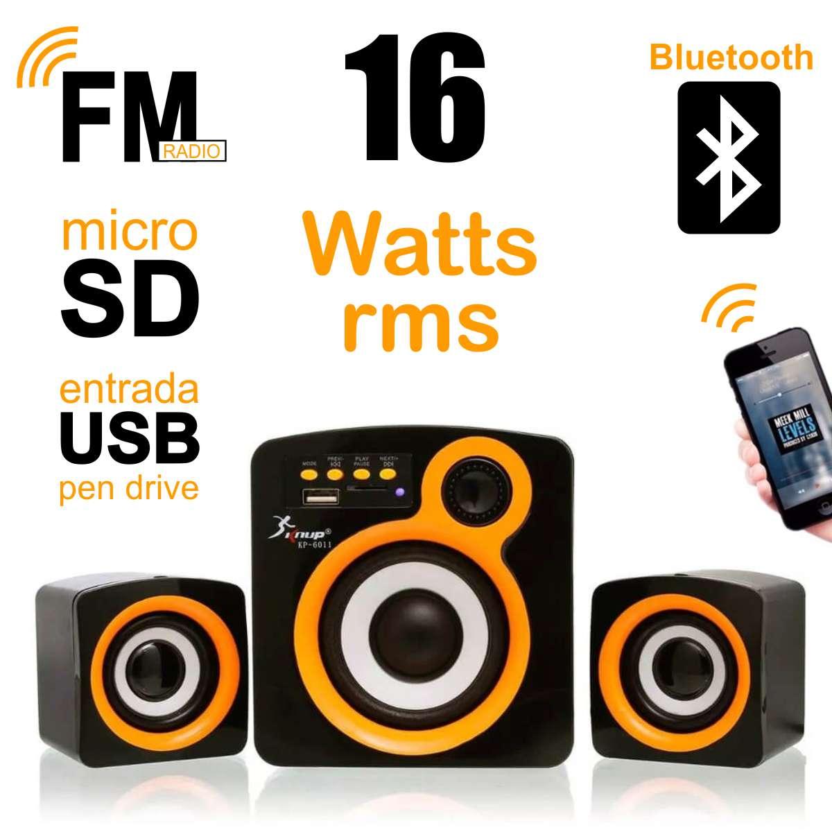 Caixa de Som com Subwoofer 2.1 16 Watts Rms Usb/SD/Bluetooth Knup KP-6011