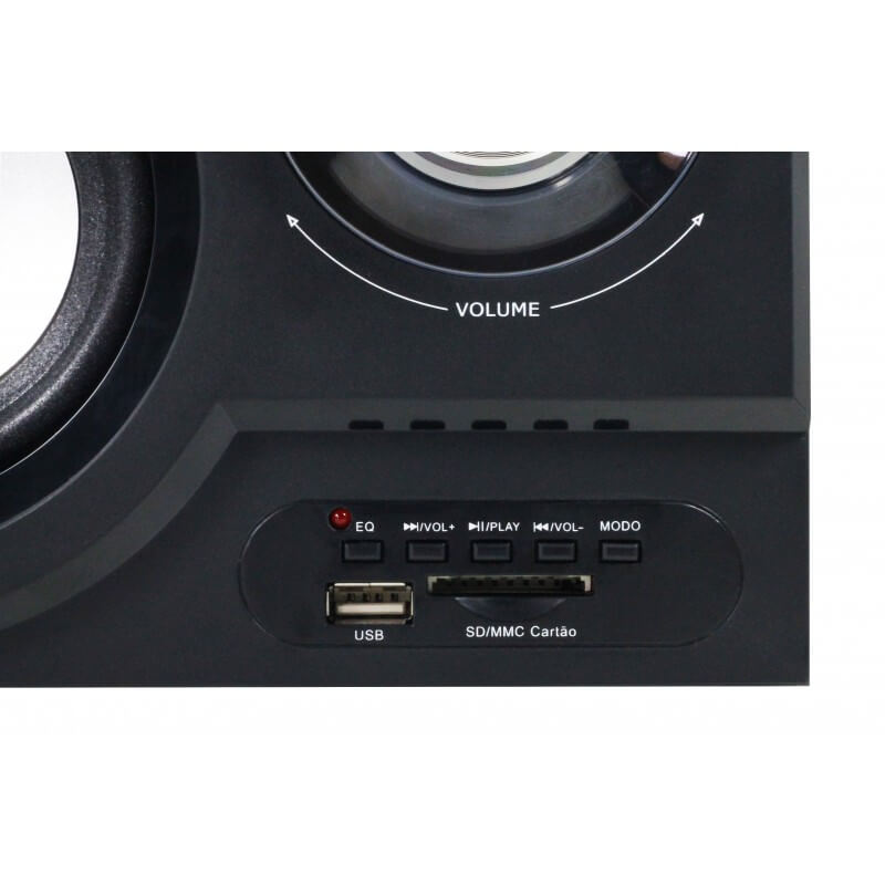 Caixa de Som com Subwoofer 2.1 27 Watts Rms Bluetooth Usb/SD/Aux Knup KP-6001BH