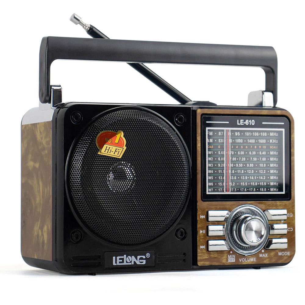 Caixa de Som Portátil Potente Retrô Vintage Rádio Analógico FM / AM / SW / USB Lelong LE-610