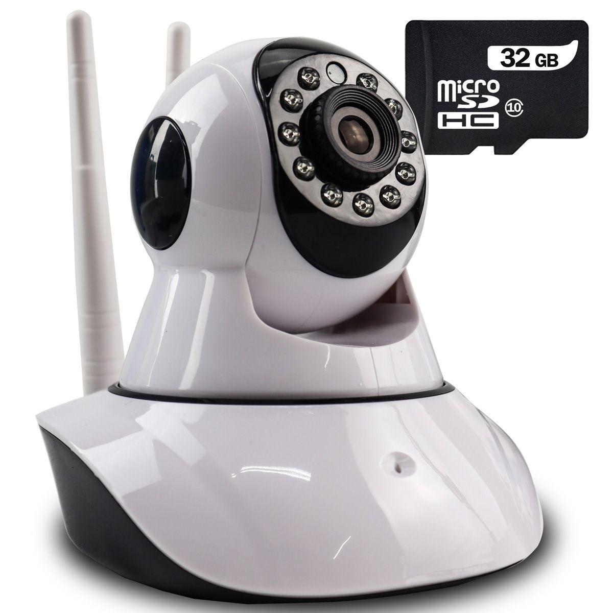 Câmera IP Digital 2.0MP com Dois Receptores de Wifi e Visão Noturna Full HD 1080p Q5 + Cartão Micro SD 32GB