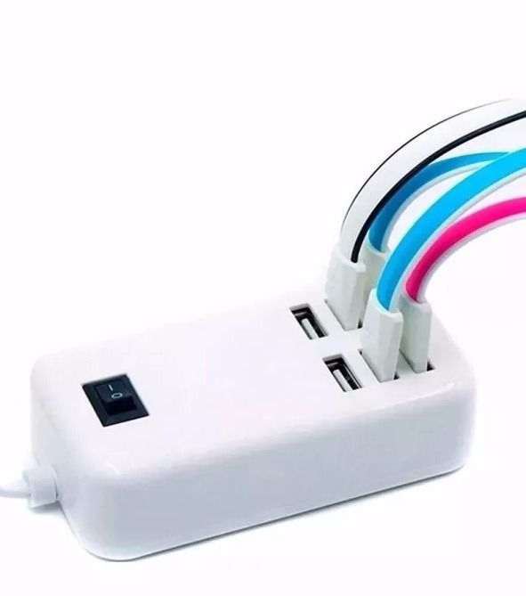 Carregador Hub USB 6 Portas com Cabo 1,4m Tomada 30w 5v 6a Ref: CH220