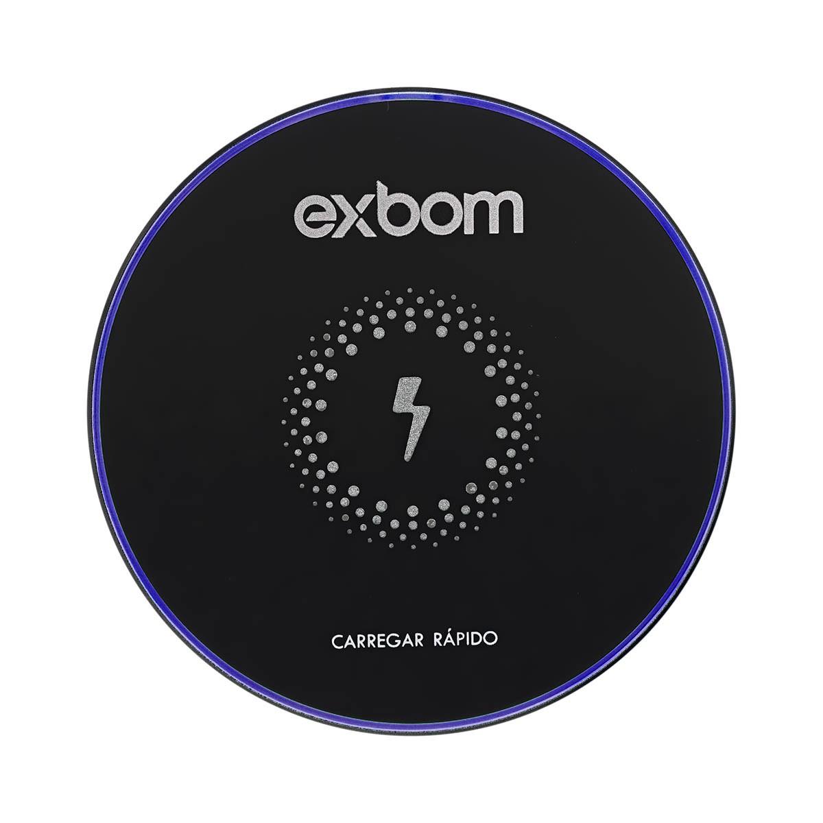 Carregador Sem Fio Tecnologia Qi Wireless por Indução com Borda LED Exbom TQI-F18