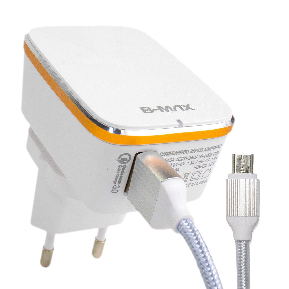 Carregador Turbo Quick Charge 3.0 18w para Celular Micro USB V8 B-Max BM8607