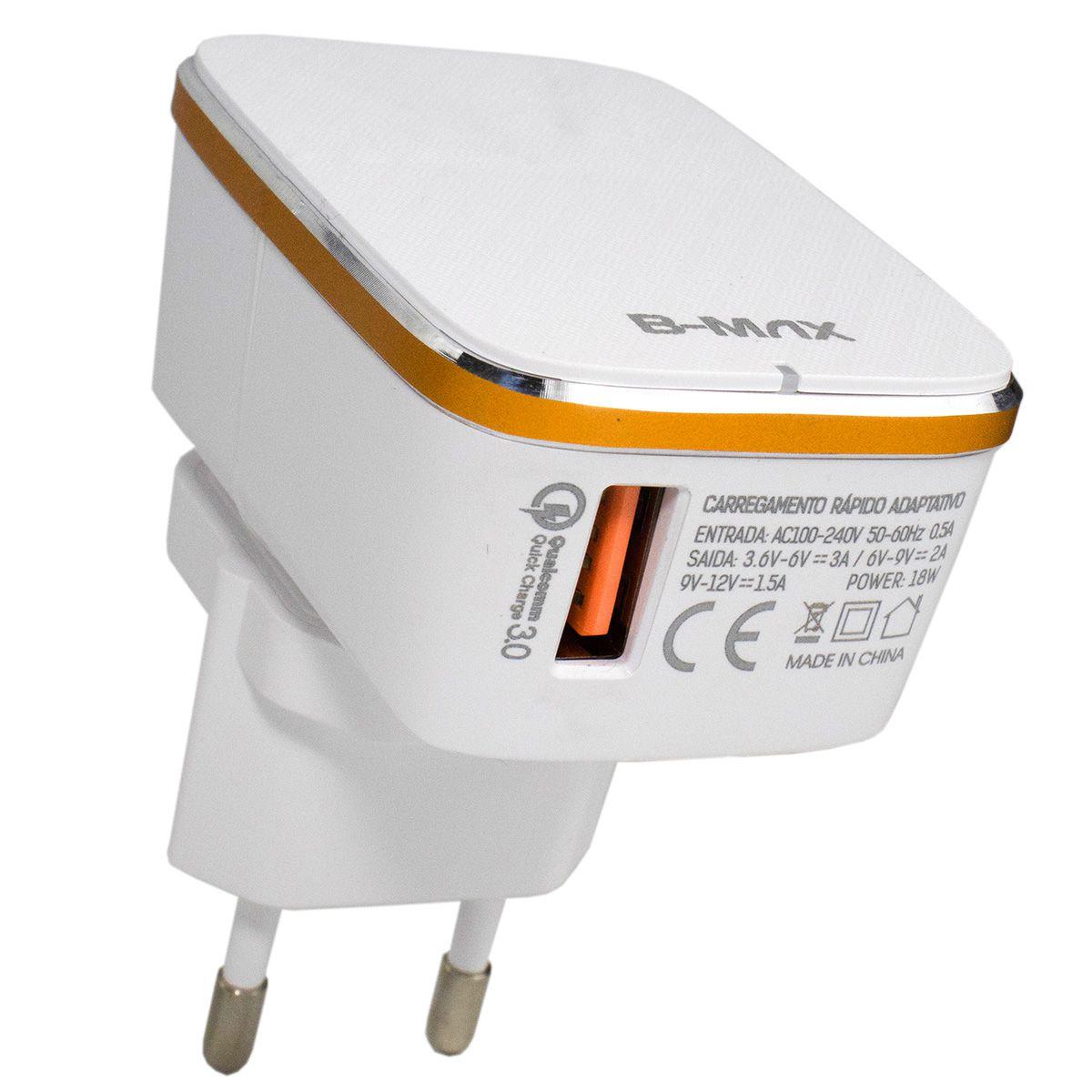Carregador Turbo Quick Charge 3.0 18w para Celular USB Tipo C B-Max BM8609