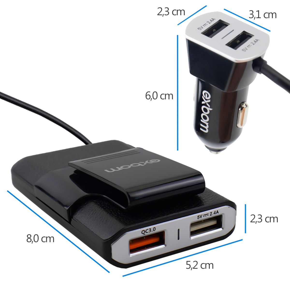 Carregador Veicular com Extensor e 4 USB Exbom CA4U-EX48A10
