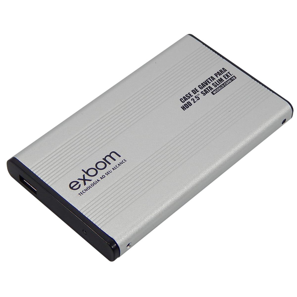 """Case USB 2.0 p/ HD de 2,5"""" em Alumínio Exbom"""