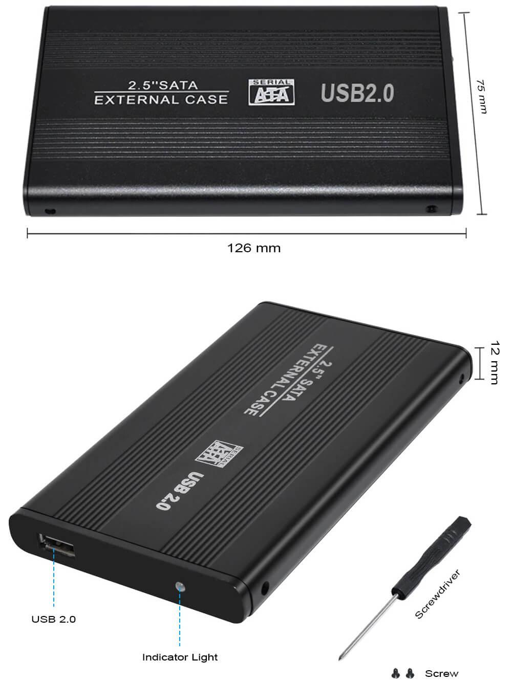 "Case USB 2.0 p/ HD de 2,5"" (HD de Notebook) em Alumínio"