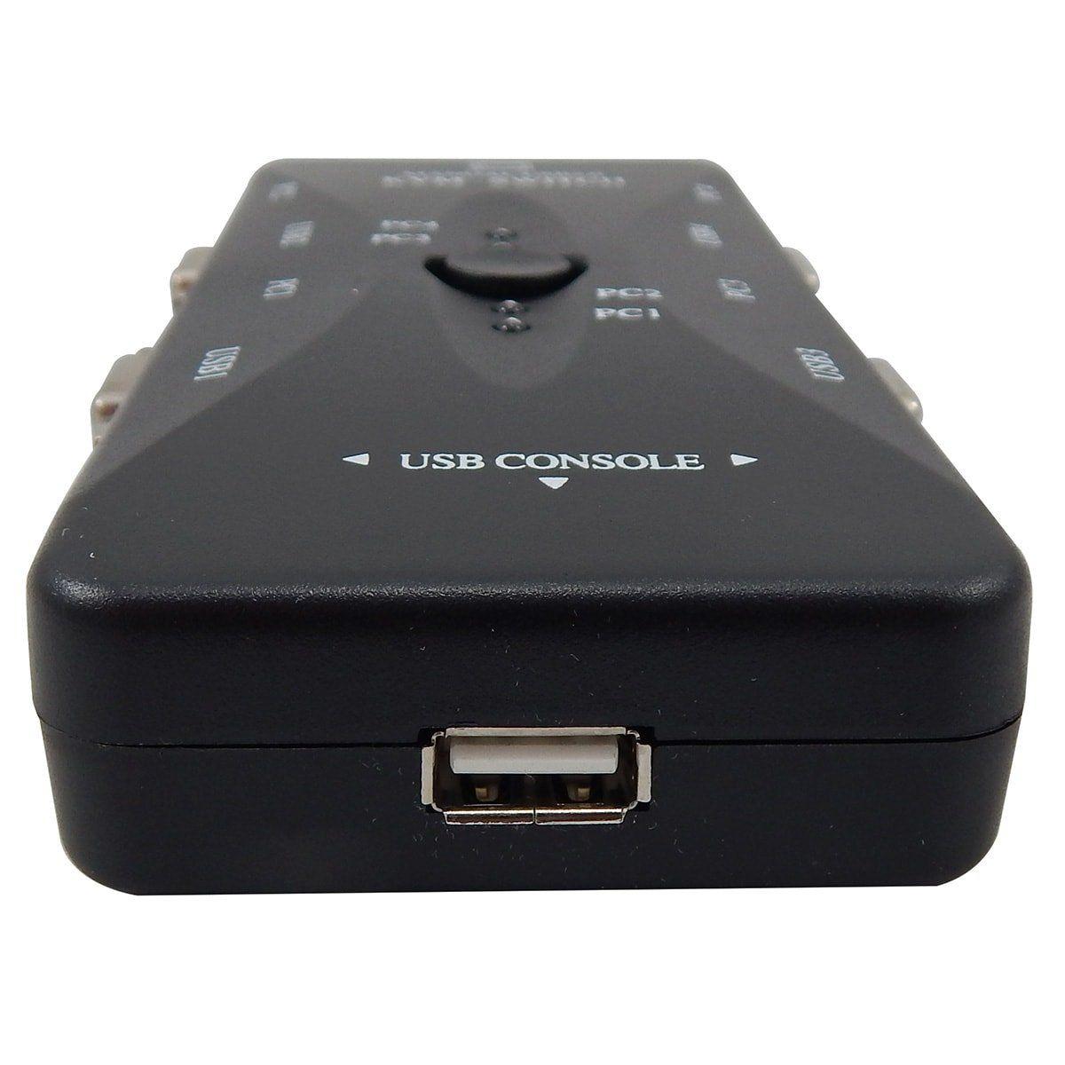 Chaveador Switch KVM 4 Portas USB KVM41UA + 4 Cabos USB AB 2m + 4 Cabos Vga 1,8m