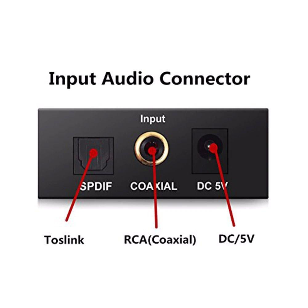 Conversor Áudio Digital Óptico Toslink e Coaxial p/ Analógico Rca e P2 Xtrad XT-5529 + Cabo DC 5V