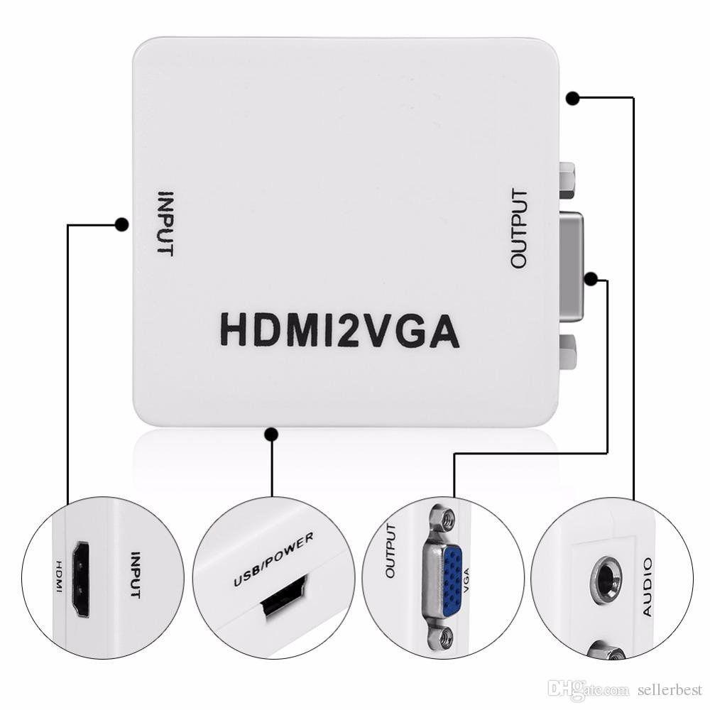 Conversor HDMI para VGA com Saída de Áudio P2 HDMI2VGA