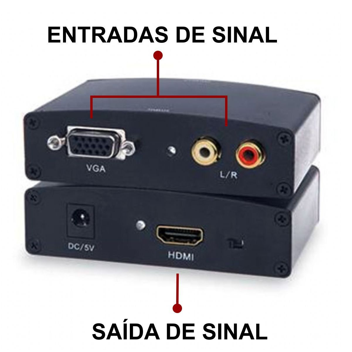 Conversor Vga Fêmea p/ Hdmi Fêmea c/ Áudio XT-2020