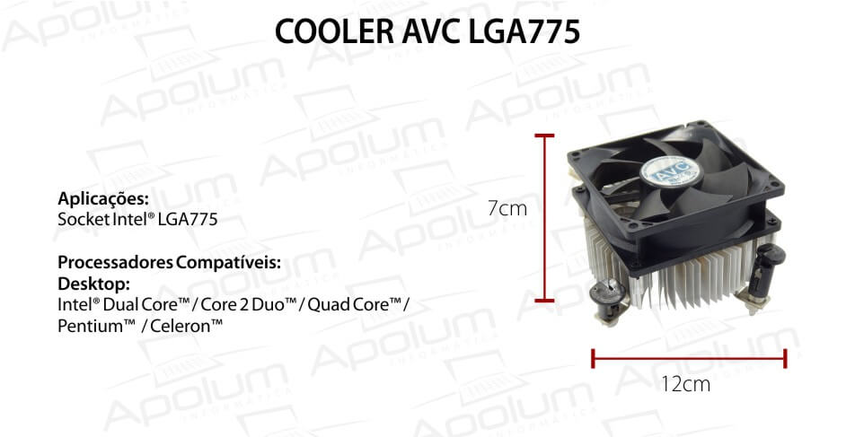Cooler para Processador Intel 775 AVC Quadrado