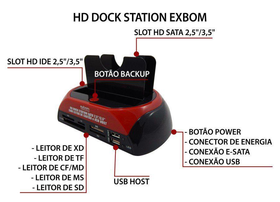"""Dock Station para HD Sata e Ide de 2,5"""" e 3,5"""" B-Max BM-753"""