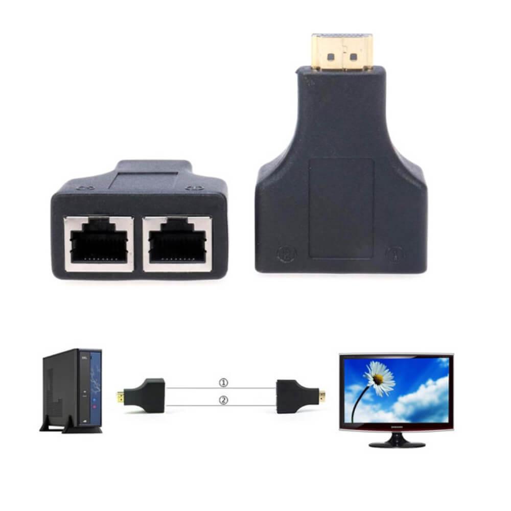Extensor Hdmi 3D até 30 Metros via Cabo de Rede UTP RJ45 Cat5e/6 XT-30M-HDMI