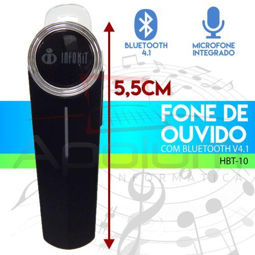 Fone de Ouvido Bluetooth 4.1 Estéreo com Bateria Infokit HBT-10