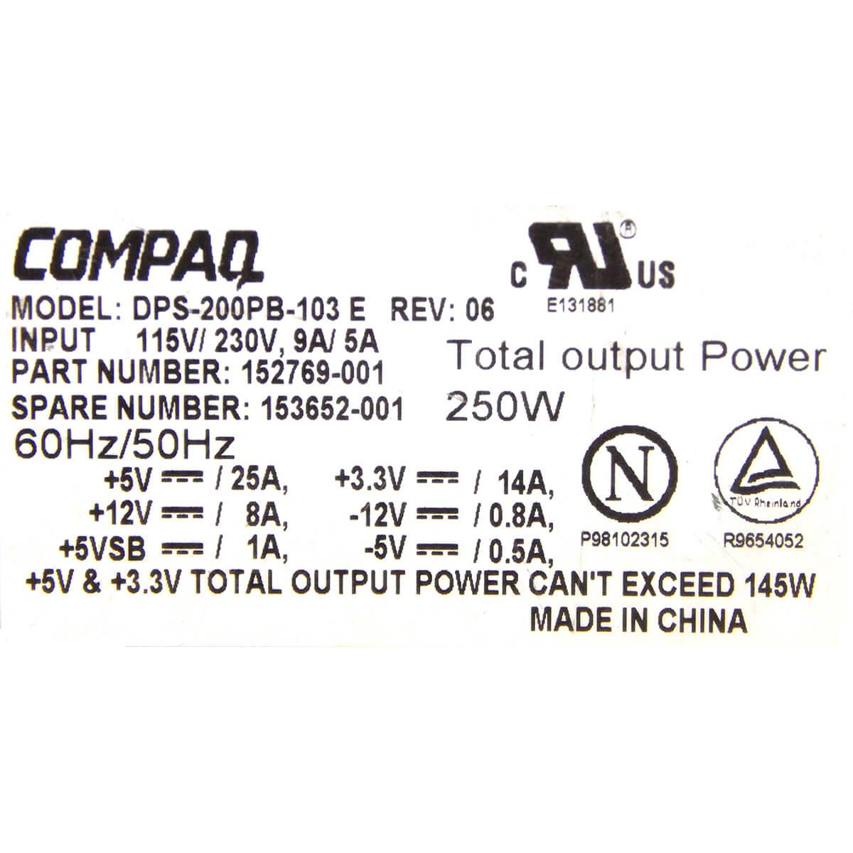 Fonte Compaq DPS-200PB-103 250w 20 Pinos - Usada