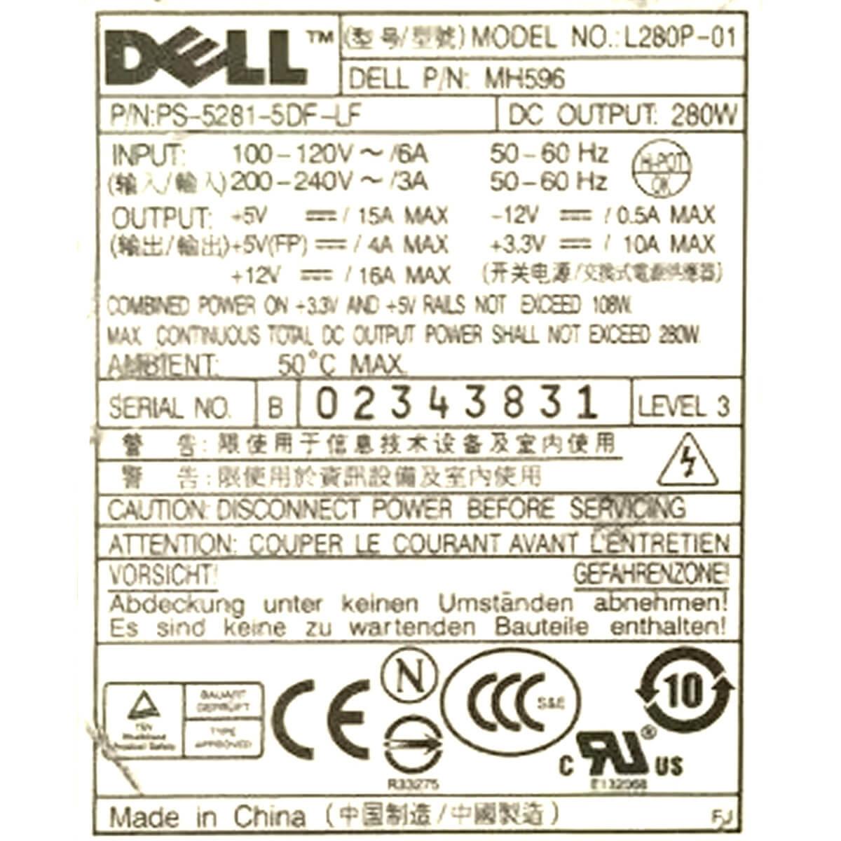 Fonte Dell L280P-01 280w 24 Pinos - Usada