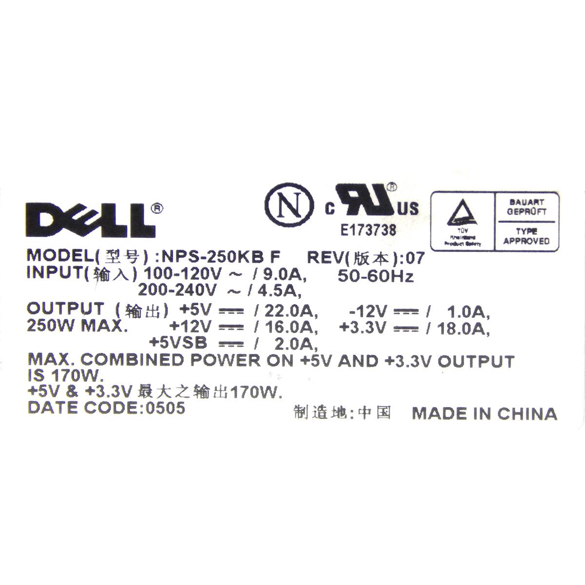 Fonte Dell NPS-250KB 250w 20 Pinos - Usada