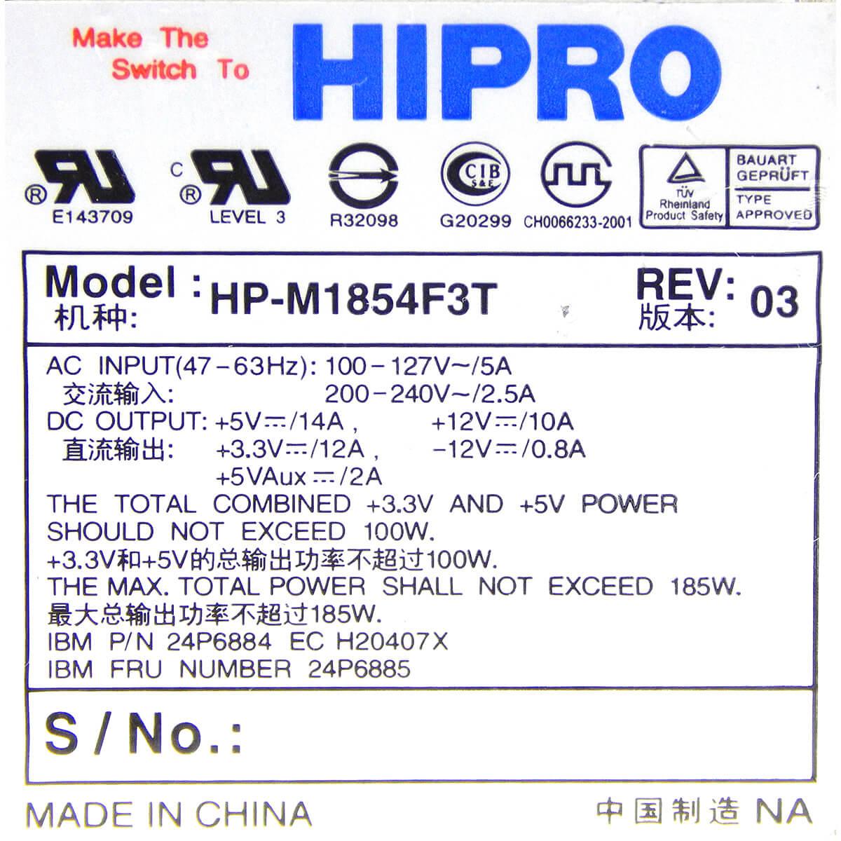 Fonte HIPRO Ibm Thinkcentre HP-M1854F3T 185w 20 Pinos - Usada