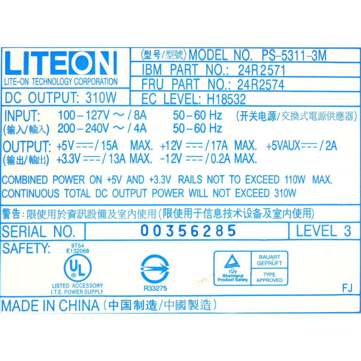Fonte IBM Lenovo LiteOn FRU 24R2574 310w - Usada