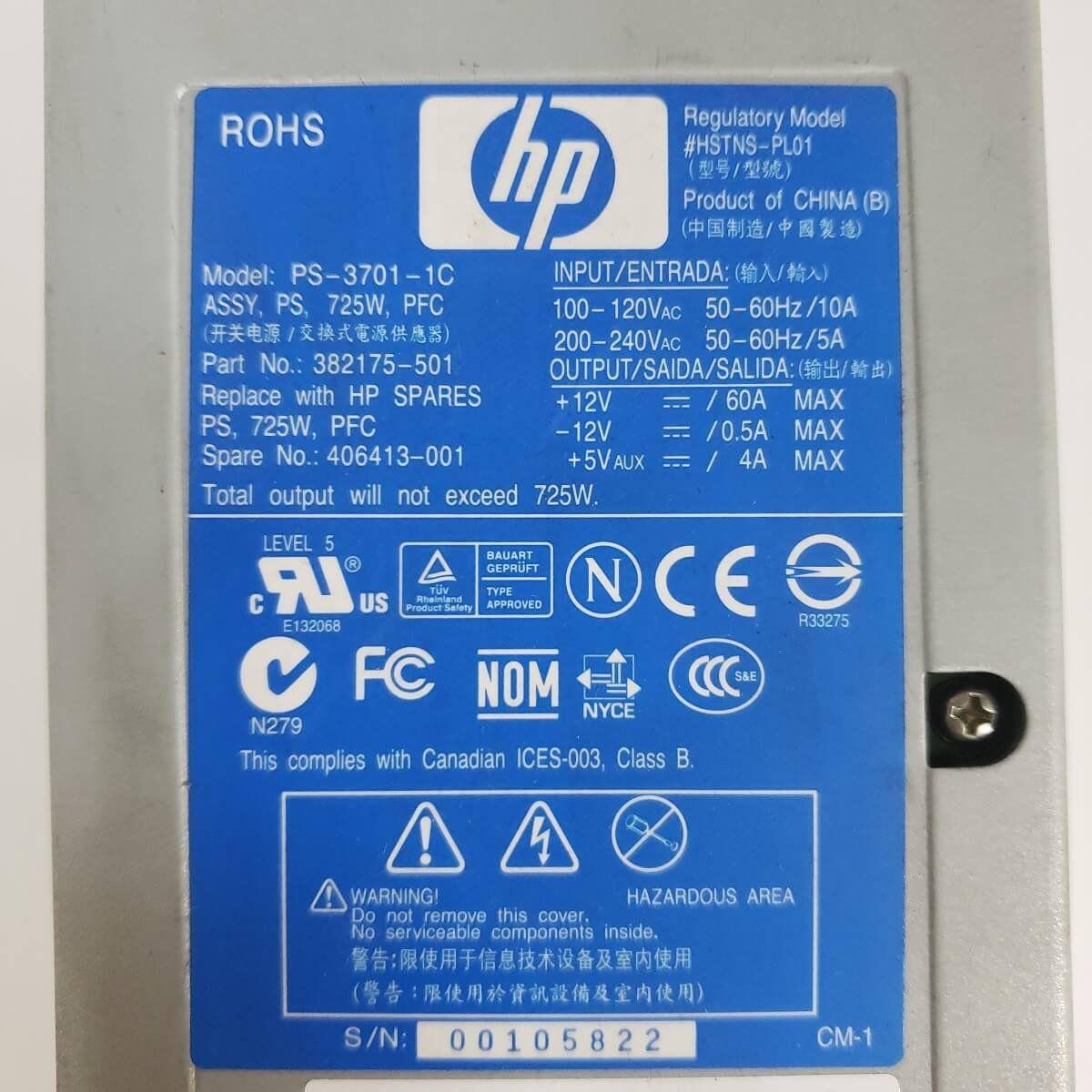 Fonte Servidor HP ML350 725w 382175-001 HSTNS-PL01 - Usada
