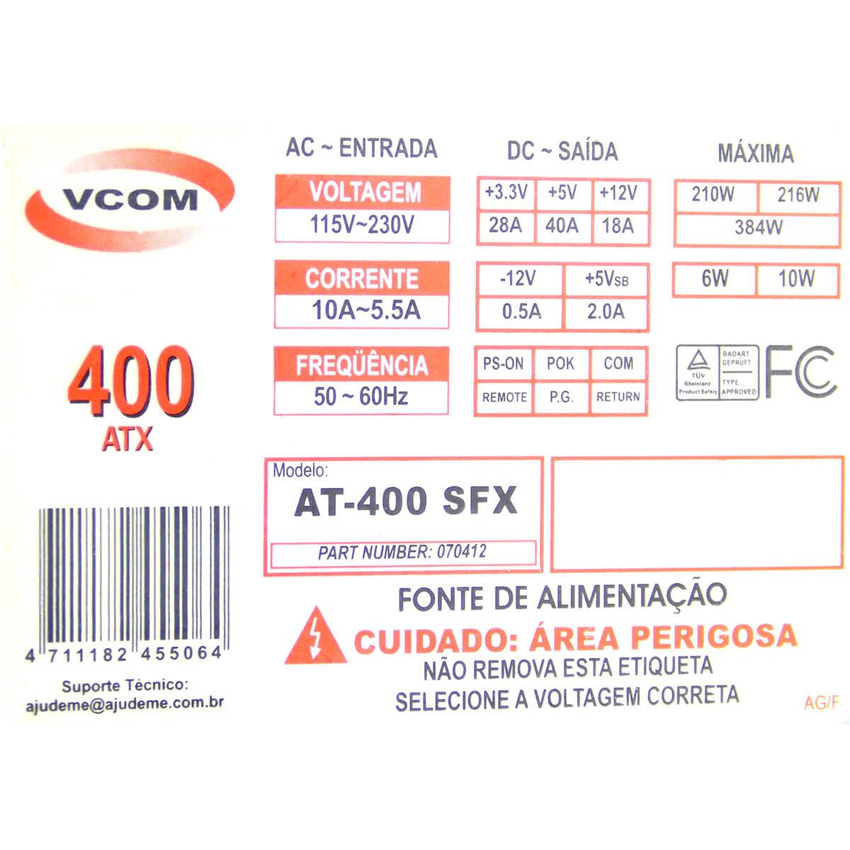 Fonte VCOM AT-400 SFX 400w 20 Pinos  - Usada