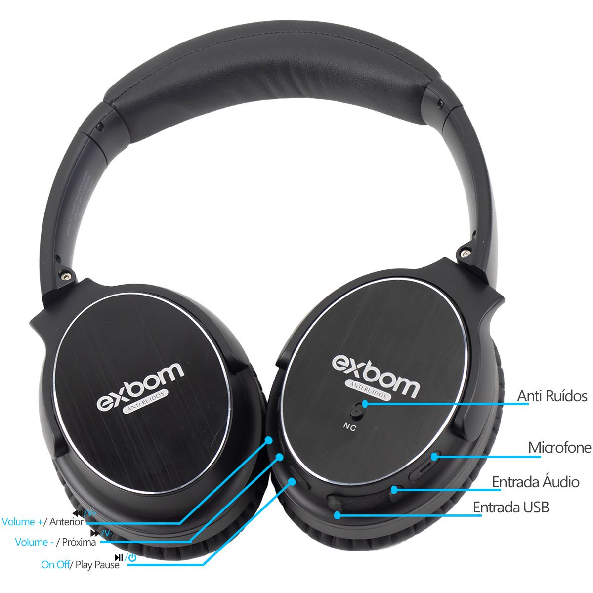 Headphone Bluetooth com Noise Cancelling Exbom HF-AR8BT